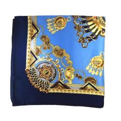 Chaîne bleu - Foulard carré en 100% soie (55cm x 55cm)