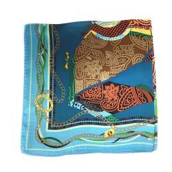 Cheval au galop - Foulard carré imprimé 100% soie, 55cm x 55cm, Turquoise