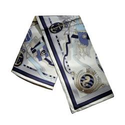 Bleu Hippocampe - Foulard carré imprimé 100% soie, 90 x 90 cm