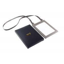 Porte-passeport ou porte-documents de sécurité avec tour de cou 100% cuir de vache grainé (couleur : gris)