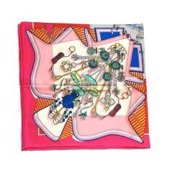 Silk Run – 'fleurs' Foulard carré imprimé en 100% soie (90 cm* 90 cm, taille : L)