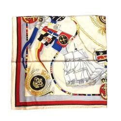 Foulard carré imprimé 100% soie (90 cm* 90 cm), motif : Nautique (gris rouge)