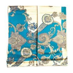 Foulard carré imprimé 100% soie (90 cm* 90 cm), motif : fleurs dorées (L, Turquoise)