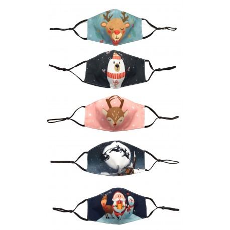 Lot de 5 masques barriere enfant en coton réutilisables et lavables