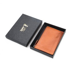 Filante Porte-monnaie zippé avec porte clés intégré en cuir véritable (couleur : marron)